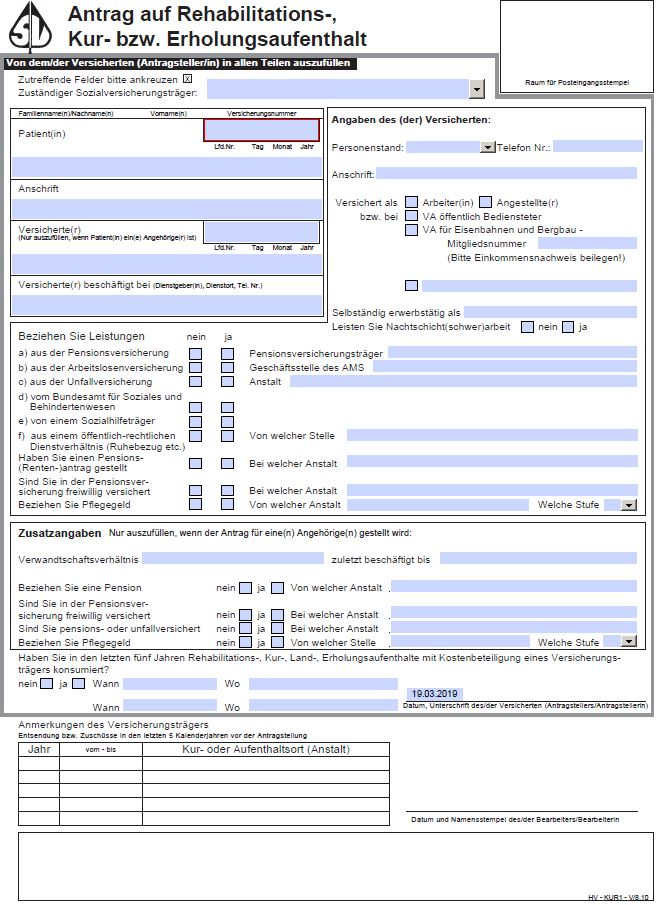 Antragsformular Rehabilitation Rehaantrag